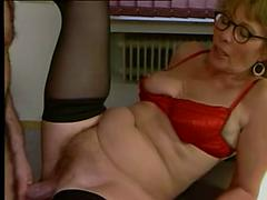 Mature in Red Lingerie and Black Stockings Fucks
