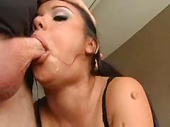 Girls Stuggles To Take A Huge Cock In Her Mouth