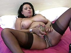 Milf With Big Boobs And Great Ass Fucks A Dildo
