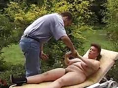 Chubby Chick With Huge Tits Fucks Outdoors