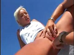 Horny European Slut Gets Fucked Anally On The Roof
