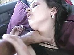 Goth chick fucked in the car