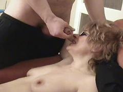 Russian mom is fucked by her lover and a friend