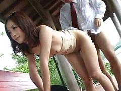 Asian Babe Gets Banged Doggy Style Outside