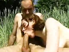 Hot Babe Sucks A Huge Slong In The Nature