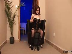 Redhead girl in nylon stockings gives head and enjoys fisting
