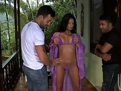 Mouth watering milf with tight body and fake tits banged by two guys