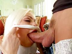 Agile blonde vixen gets her little mouth stuffed with a huge wang