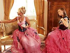 Babes in vintage dresses show each other their perfect lesbian sex skills