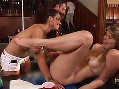 Stunning bitches get naked at a party to ride some hard peckers