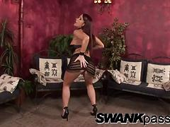 Gorgeous cougar in a miniskirt masturbates and screams