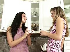 Playsome lesbian girls get naked to have fun in the kitchen