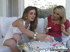 Lesbian chicks turn a nice party into a naughty lesbian action