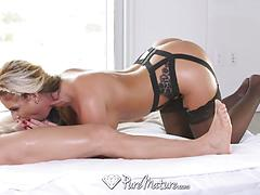 Sexy Blonde MILF Fucked In Black Lingerie